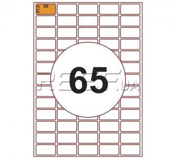 Этикетка A4 - 65 штук на листе 38x21,2 (100 листов) скруглённая - Этикетка A4 - 65 штук на листе 38x21,2 (100 листов) скруглённая