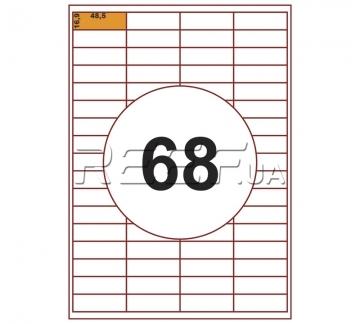 Этикетка A4 - 68 штук на листе 48,5x16,9 (100 листов) - Этикетка A4 - 68 штук на листе 48,5x16,9 (100 листов)
