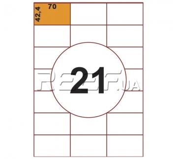 Этикетка A4 - 21 штука на листе 70x42,4 (100 листов) - Этикетка A4 - 21 штука на листе 70x42,4 (100 листов)