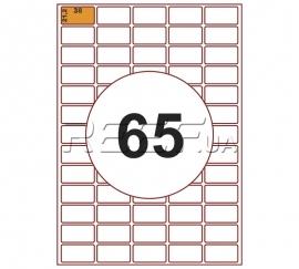 Этикетка A4 - 65 штук на листе 38x21,2 (100 листов) скруглённая